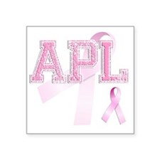 "APL initials, Pink Ribbon, Square Sticker 3"" x 3"""