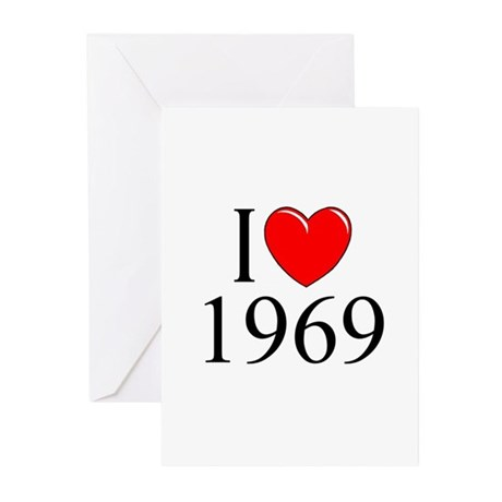 """""""I Love 1969"""" Greeting Cards (Pk of 10)"""