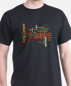 Lung Cancer Word Art (dk) T-Shirt