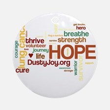 Lung Cancer Word Art (dk) Round Ornament