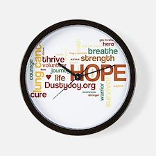 Lung Cancer Word Art (dk) Wall Clock