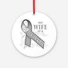 My Wife is a Survivor (grey) Round Ornament