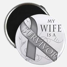 My Wife is a Survivor (grey) Magnet
