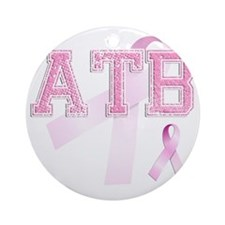 ATB initials, Pink Ribbon, Round Ornament