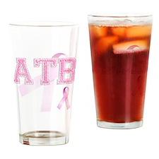 ATB initials, Pink Ribbon, Drinking Glass