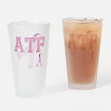 ATF initials, Pink Ribbon, Drinking Glass