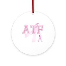 ATF initials, Pink Ribbon, Round Ornament