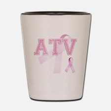 ATV initials, Pink Ribbon, Shot Glass