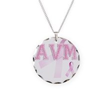 AVM initials, Pink Ribbon, Necklace