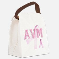 AVM initials, Pink Ribbon, Canvas Lunch Bag