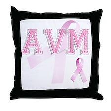 AVM initials, Pink Ribbon, Throw Pillow