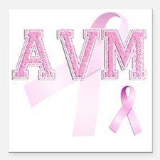 "AVM initials, Pink Ribbo Square Car Magnet 3"" x 3"""