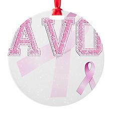 AVO initials, Pink Ribbon, Round Ornament