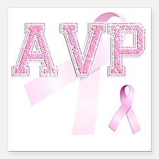 """AVP initials, Pink Ribbo Square Car Magnet 3"""" x 3"""""""