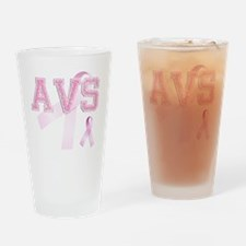AVS initials, Pink Ribbon, Drinking Glass