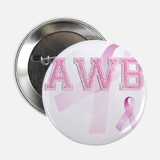 "AWB initials, Pink Ribbon, 2.25"" Button"