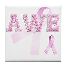AWE initials, Pink Ribbon, Tile Coaster