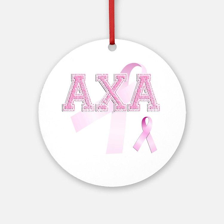 AXA initials, Pink Ribbon, Round Ornament