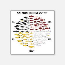 "Calling Back the Salmon Square Sticker 3"" x 3"""