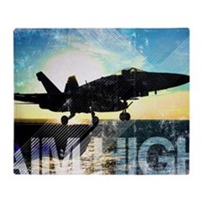 Motivational Grunge Poster: Aim High Throw Blanket