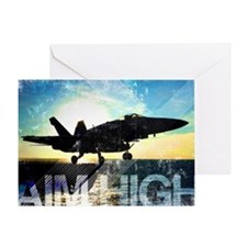 Motivational Grunge Poster: Aim High Greeting Card