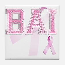 BAI initials, Pink Ribbon, Tile Coaster