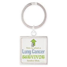 Lung Cancer Survivor (dk) Square Keychain