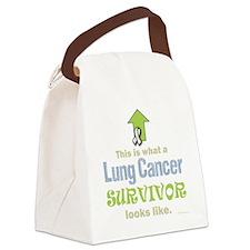 Lung Cancer Survivor (dk) Canvas Lunch Bag