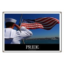Military Poster: Pride, A sailor salutes th Banner