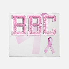 BBC initials, Pink Ribbon, Throw Blanket