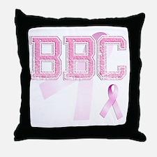 BBC initials, Pink Ribbon, Throw Pillow