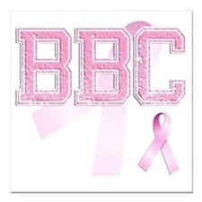 "BBC initials, Pink Ribbo Square Car Magnet 3"" x 3"""