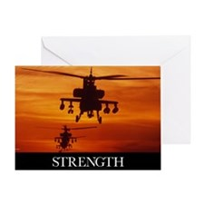 Military Poster: Four AH-64 Apache a Greeting Card