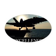 Military Poster: An F/A-18C Hornet Oval Car Magnet