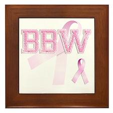 BBW initials, Pink Ribbon, Framed Tile