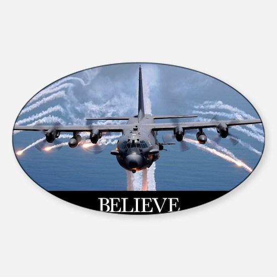 Military Poster: An AC-130H Gunship Sticker (Oval)