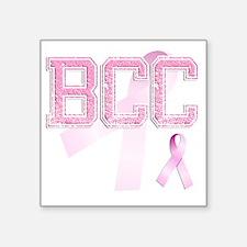 """BCC initials, Pink Ribbon, Square Sticker 3"""" x 3"""""""