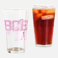 BCE initials, Pink Ribbon, Drinking Glass