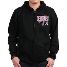BDB initials, Pink Ribbon, Zip Hoodie