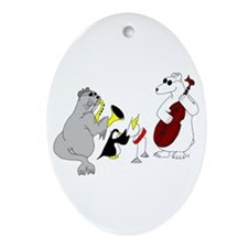 Animal Jazz Band Oval Ornament