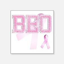 "BEO initials, Pink Ribbon, Square Sticker 3"" x 3"""