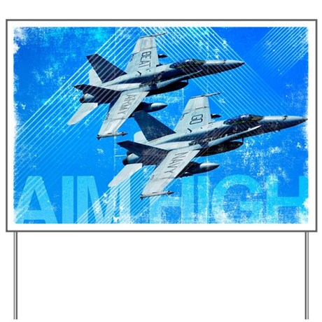 Military Grunge Poster: Aim High. Two F/ Yard Sign