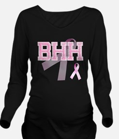 BHH initials, Pink R Long Sleeve Maternity T-Shirt