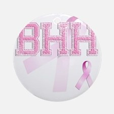 BHH initials, Pink Ribbon, Round Ornament