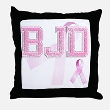 BJD initials, Pink Ribbon, Throw Pillow