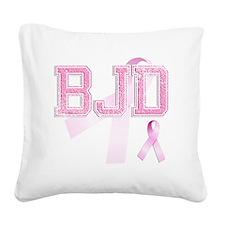 BJD initials, Pink Ribbon, Square Canvas Pillow