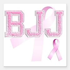 "BJJ initials, Pink Ribbo Square Car Magnet 3"" x 3"""