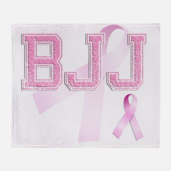 BJJ initials, Pink Ribbon, Throw Blanket