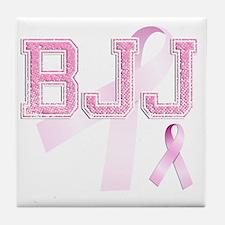 BJJ initials, Pink Ribbon, Tile Coaster