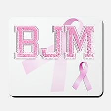 BJM initials, Pink Ribbon, Mousepad